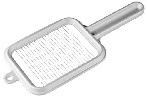 Fackelmann Pellkartoffelschneider 28 cm, Kartoffelschneider eckig, Mozzarellaschneider, Eierschneider für dünne, gleichmäßige Scheiben (Farbe: Silber), Menge: 1 Stück