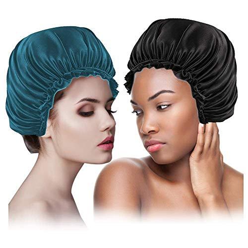 lidun Gorro de ducha impermeable de doble capa para mujer, elástico y reutilizable (4)