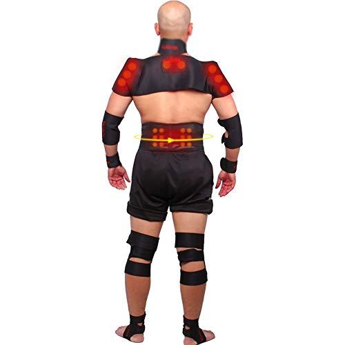JM-Y Schulterbandage Verstellbare Schulter Unterstützung Bandage, Lumbalen Rückengürtel Nacken Schulter Eigenerwärmung Magnetic Turmalin-Therapie,Schwarz,M