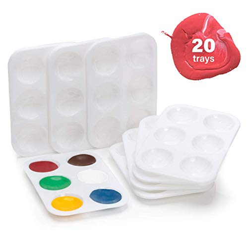 Paint Palette - 20 Piece Set - 6 Color Mixing Wells - Rectangular White Plastic Tray for Painting with Oil, Acrylic, Watercolor - Great Artist Gift, Classroom Supplies, Kids Birthday Art Party Crafts