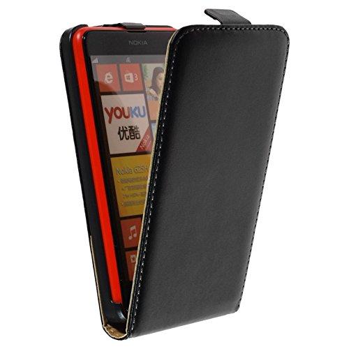 PhoneNatic Kunst-Lederhülle kompatibel mit Nokia Lumia 625 - Flip-Hülle schwarz + 2 Schutzfolien