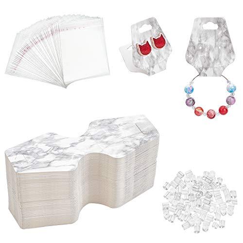 PandaHall Kit de etiquetas para pendientes, 100 tarjetas de papel, 100 bolsas con cierre autoadhesivo y 100 etiquetas de plástico para pendientes (mármol)
