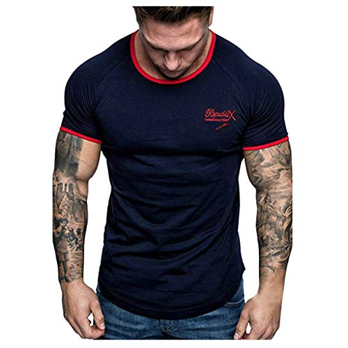 Buy Discount XQXCL Men's Summer Letter Printed T-Shirt Solid Color Short-Sleeved Top Classic Blouse