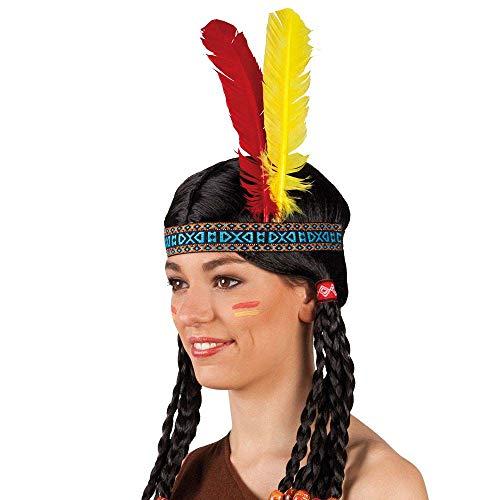 Boland 44136 - Stirnband Indianer, bunt, Federn rot-gelb, one size, elastisch, Cowboy, Western, Rothaut, Appachen, Karneval, Halloween, Fasching, Mottoparty, Verkleidung, Theater