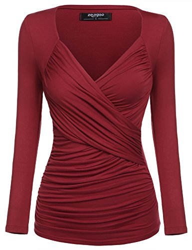 Zeagoo Damen V-Ausschnitt Langarmshirt Tunika Bluse Obertail T-Shirt mit Rüschen Weinrot- EU 36(Herstellergröße:S)