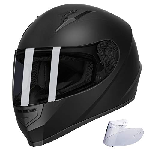 GLX Unisex-Adult GX11 Compact Lightweight Full Face Motorcycle Street Bike Helmet with Extra Tinted Visor DOT Approved (Matte Black, Medium)