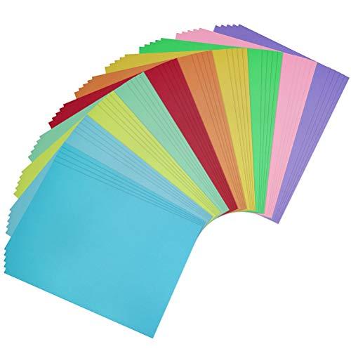 50 Feuilles de Papier Cartonné, 10 Couleurs A4 Papier de Haute Qualité pour Bricoler