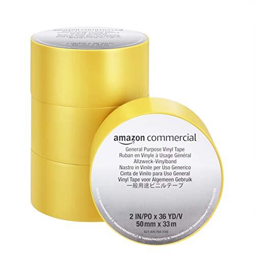 Amazon Commercial PVC Klebeband – Stark Klebend, 0.13 mm x 50 mm x 33 m, Gelb, 4 Rollen