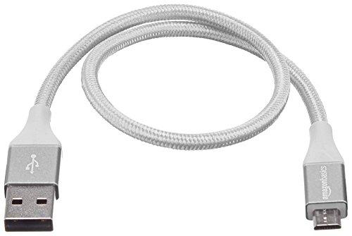 Amazon Basics - USB-2.0-A auf Micro-B-Kabel mit doppelt geflochtenem Nylon   0,3 m, Silber