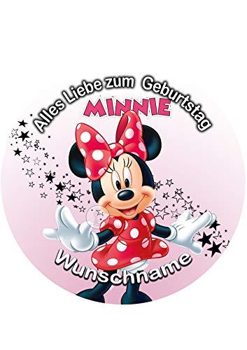 Minnie Maus, Essbares Tortenbild + Wunschname, Tortenaufleger Ø 20cm - 0225W-2