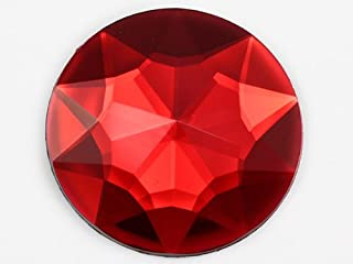 32mm Ruby H103Flat Back Round Acrylic Rhinestones Plastic Circle Gems for Costume Making Cosplay Jewels Pro Grade Embelishments - 6 Pieces