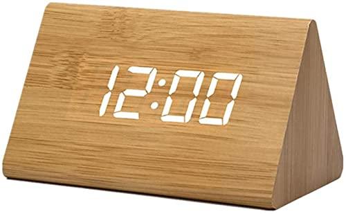 JeeKoudy Reloj de Madera Reloj Digital de Madera Relojes LED Digitales con Temperatura Creatividad Triángulo Reloj electrónico Protección del Medio Ambiente Multifunción