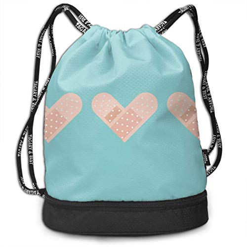Petrichor Yi Gym Sack Heart Band-Aid Print Drawstring Bags - Sac à Dos à Poche Simple Bundle