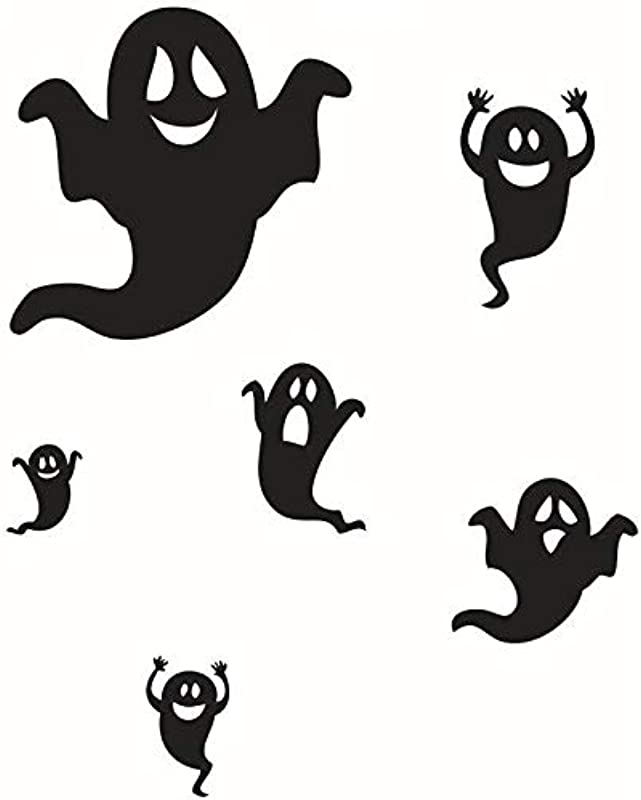 DNVEN 27 Inches X 33 Inches Halloween Happy Little Ghosts Funny Monsters Scream Wall Decals Window Stickers Halloween Decorations For Kids Rooms Nursery Party