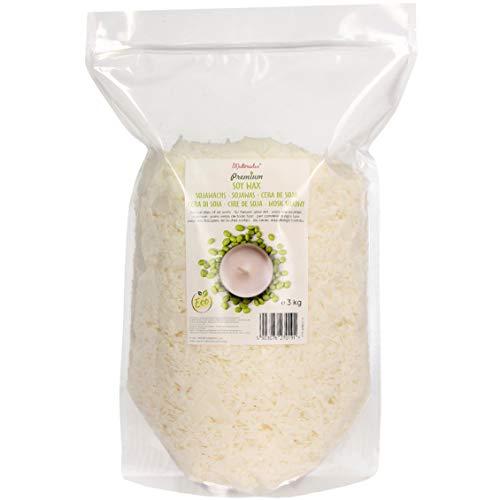 Materialix Premium Sojawachs Verschiedene Größen - 3kg - natürliches Öko-Soja-Wachs-Flocken für die Kerzenherstellung…