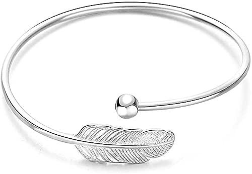 Damen-Armband aus 925er Silber, mit Öffnung, Blattfeder-Armreif