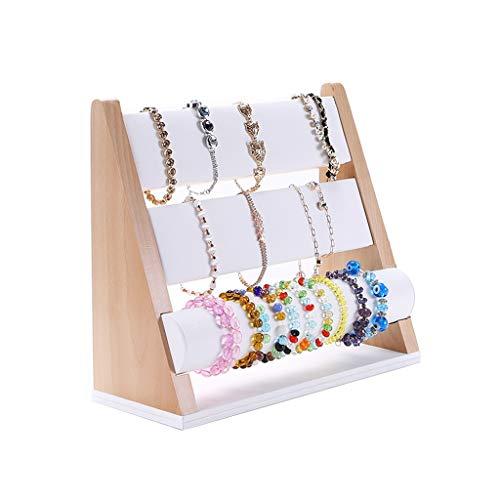 bjyx Estante de la joyería PU joyería del Soporte de exhibición for el Organizador del Reloj del Brazalete del Collar del Organizador del almacenaje Soportes (Color : White)