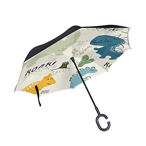 Paraguas invertido de doble capa resistente al viento al aire libre lluvia sol coche paraguas inverso con mango en forma de C – dinosaurios plantas lunares