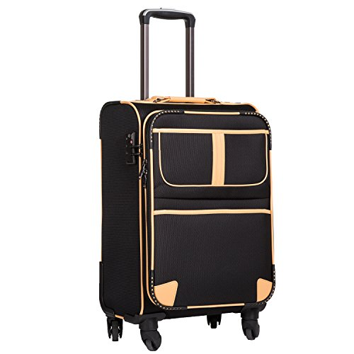 COOLIFE Lightweight Fabric Suitcase with TSA Lock and 4 Quiet Wheels Black Black Handgepäck