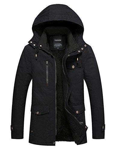 Menschwear Uomo Jacket Down Puffer Giacca Foderato di Pile Incappucciato Piumino (L,Nero)
