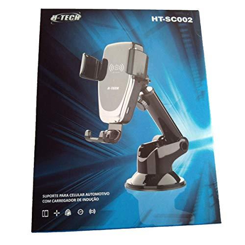 Suporte De Celular Veicular Carregador Wireless Indução 12v Ventosa H-Tech HT-SC002