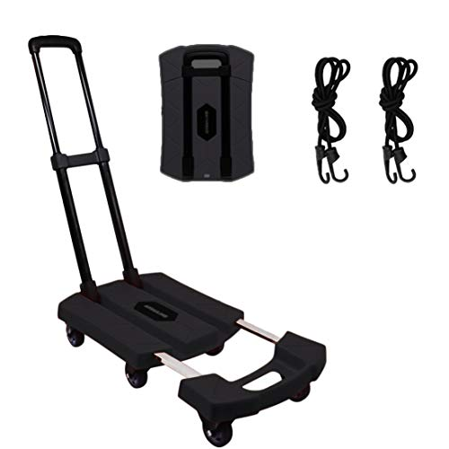 Folding Hand Truck + 3inch 6 Wheel-roate Rubber Tires + Break System +Heavy Duty Solid Construction Utility Collapsible Foldable Dolly Trolley Cart Compact & Lightweight for Luggage (Black-3inch tire)