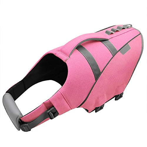 MIGOHI Dog Life Jacket, Reflective & Adjustable Preserver Floatation Vest with Rescue Handle, Ripstop Safety Life Saver for Small Medium Large Dogs, Pink, S