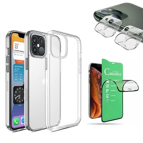 Kit Capa Clear Case, Película de Cerâmica 9D Premium, Película de Câmera 3D, iPhone 12, iPhone 12 Pro, iPhone 12 Pro Max - (C7COMPANY) (iPhone 12 Pro (6.1))