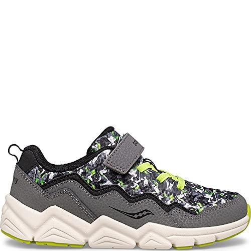 Saucony Flash Alternative Closure 2.0 Running Shoe, Grey/CAMO, 4 Wide US Unisex Big_Kid