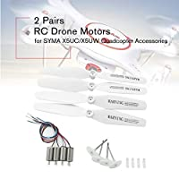 2 Pairs RC Drone Motors CCW CW Engine Motor with Gear Propellers Blades Spare Parts for SYMA X5UC/X5UW Quadcopter Accessories