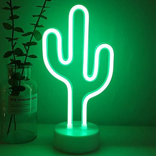 Cactus Verde Insegne luminose al Neon a LED Luce Notturna Art Base Decorativa per Supporto Lampada da Tavolo per Casa Bambini Matrimonio Festa di Compleanno di Natale, USB o Batteria