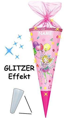 alles-meine.de GmbH personalisierte 3D LED Licht & Leucht - Schleife - passend für 3-D Glitzer Effekt _ ! - Schultüte -  Prinzessin Lillifee  - 70 / 85 cm - rund - 12 eckig - i..