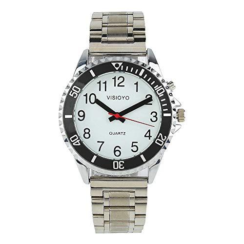 Reloj parlante analógico con alarma, anuncio de hora y fecha en francés, para ciegos y personas con discapacidad visual, pulsera de dos tonos de acero inoxidable TFBW-1505F