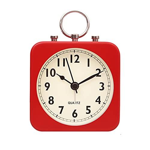 SSMDYLYM Reloj despertador de estilo nórdico pequeño para estudiantes con cabecera niños mudo retro personalidad perezoso dormitorio despertador