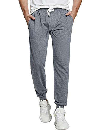 czzstance Men's Sweatpants Cotton Jogger Pants with Pockets Casual Loose Fit Athletic Drawstring Training Pants Dark Grey