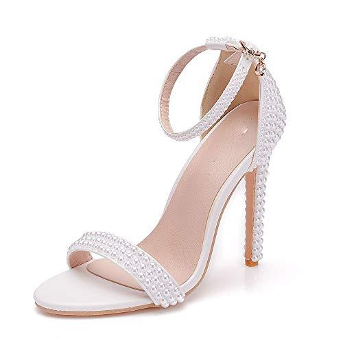 WHFKFBS Ivory Damen Brautschuhe Spitz öffnen Zehenblock Strappy Hochzeit Sandalen mit Elegant Perlen Braut Pump Schuhe,Weiß,EU38