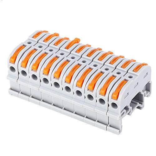 Conector de Cable tipo Riel de 10 Piezas PCT-211 Cable Eléctrico Prensa...