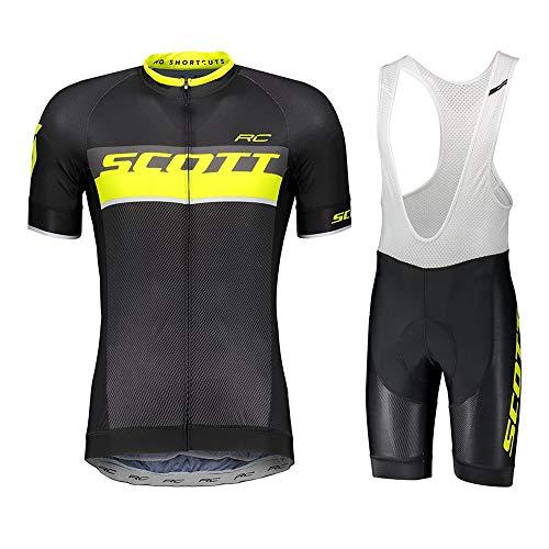 LHZTZKA Conjunto de Ropa de Ciclismo para Hombre, Camisa de Manga Corta Transpirable para Bicicleta de Manga Corta + Cojín 3D Pantalones Cortos de Montar Acolchados Pantalones