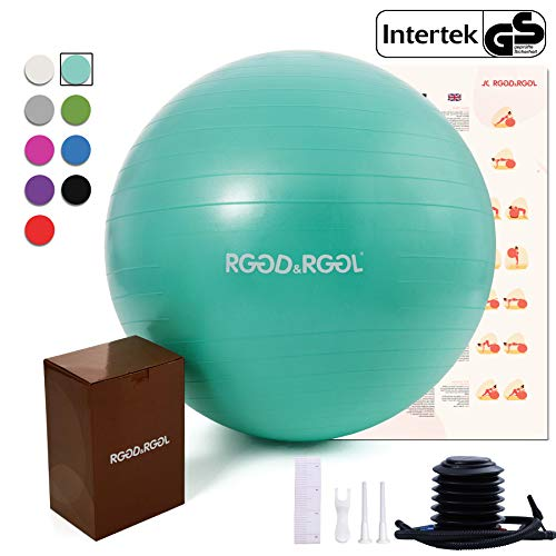 RGGD&RGGL Exercise Ball (18-34in),Professional Yoga Stability Ball Chair Extra Thick Anti-Burst Support 2200 lbs,with Quick Pump &Workout Guide for Home&Gym&Office (Mint Green, 18inch)