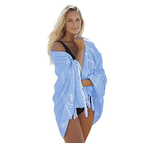 Laval Premium Toalla de playa (94 x 180 cm), prelavada, 100% algodón orgánico, de secado rápido, suave, grande, ligera, toalla de playa turca (azul)