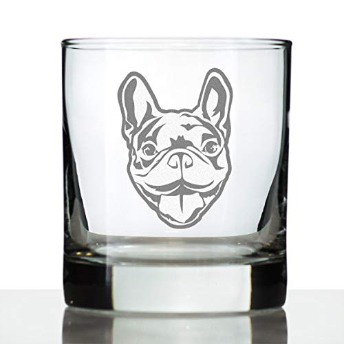 Happy Frenchie - Whiskey Rocks Glass - Unique French Bulldog Themed Gifts or Party Decor for Women and Men - 10.25 Oz