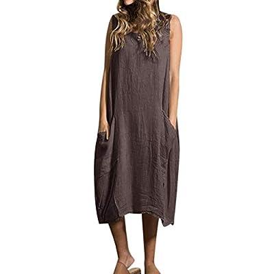 TOPUNDER Plus Size Ladies Dresses Women Summer Style Feminino Vestido Cotton Casual Dresses Coffee from TOPUNDER