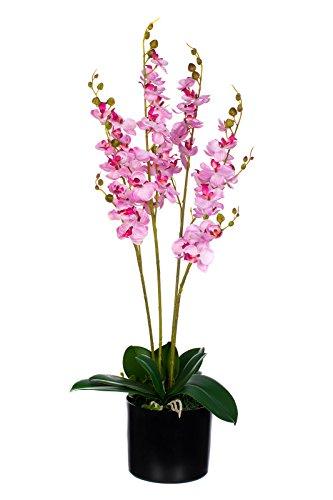 Birendy XXL Orchidee im Topf JWP361 Riesige künstliche rosa Orchidee 75cm mit Textilblüten Kunstpflanze Kunstblume