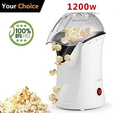 Hot Air Popcorn Maker Electric,Popcorn Machine,Popcorn Popper 1200W(US STOCK) (White)