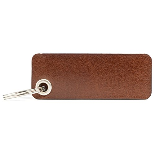 HUNTON Leder Schlüsselanhänger - Echtleder - ohne Gravur 4mm Öse (cognac)