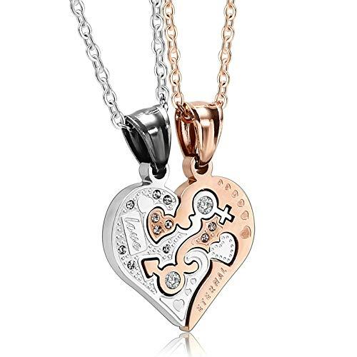 Aooaz Collares Pendientes Titanio Puzzle Heart Collares Pendientes Mujeres