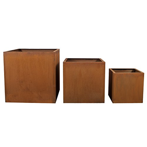 Köhko® Designer-Pflanzkübel aus Cortenstahl VIVO 50 x 50 x 50 cm | Pflanztopf in Edelrost-Optik
