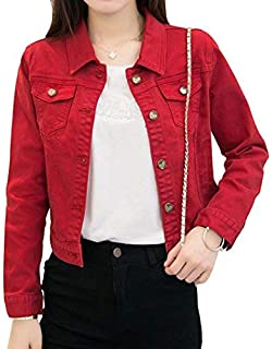 Only Faith Women's Solid Short Denim Jacket Long Sleeve Slim Jean Coat