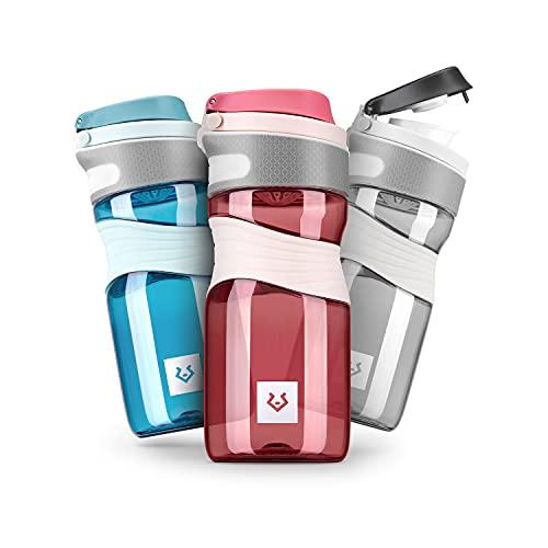 Alphatrail Botella Agua Tritan Cody 450ml Rojo 100% Prueba de Fugas I sin BPA & Ecológicamente I Seguro Lavavajillas I para una hidratación óptima en la Vida Diaria