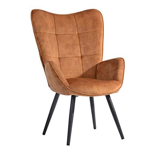 Mueble Cosy - Sillón Grande de Estilo escandinavo con un Revestimiento de Tejido marrón, reposabrazos Acolchados y Patas de Madera Maciza (Metal).